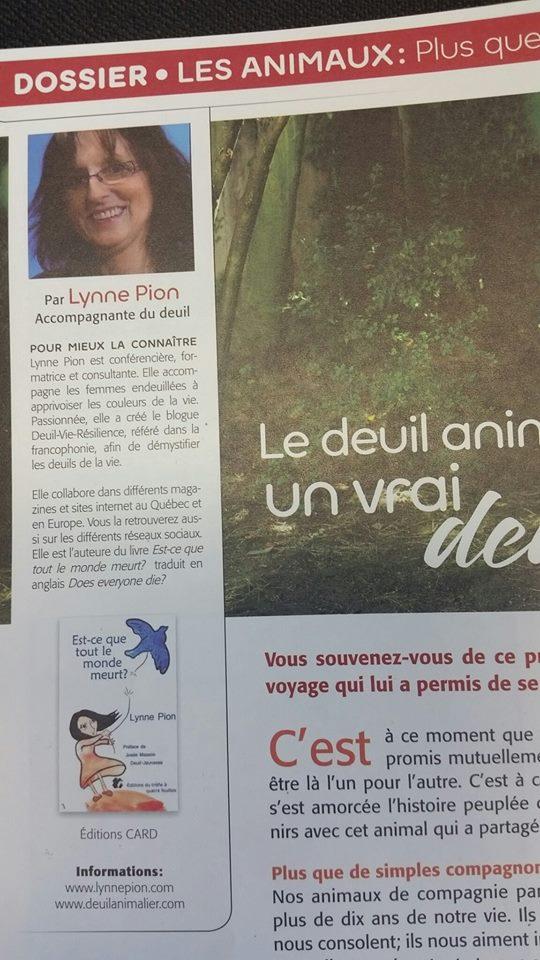 extrait Magazine VIVRE juil aout 2015 Lynne Pion Deuil Animalier article
